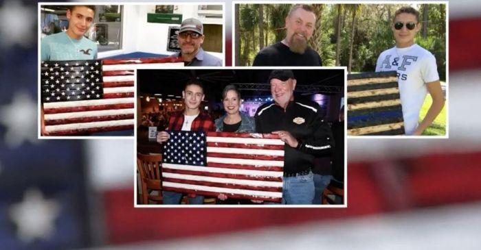 Teen Carves Wooden American Flags to Raise Money for Homeless Veterans