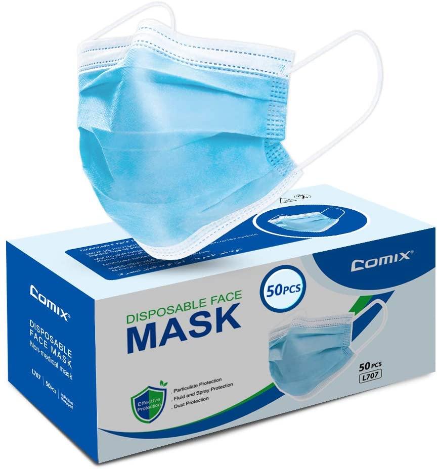 Comix Disposable Face-mask With 3-ply (non Sterile) Procedural-masks, L707 50pcs, 1count, Blue