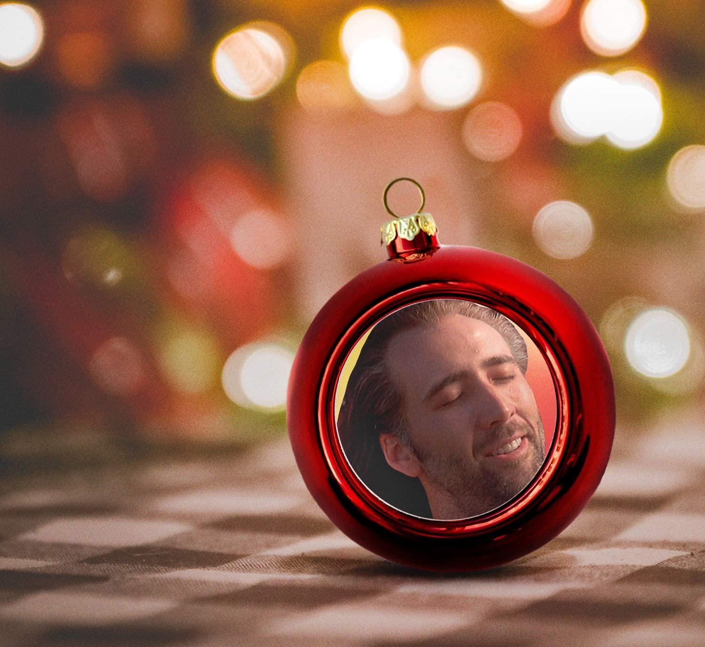 Con Air Nicolas Cage_P446 Funny Christmas Ball Ornaments Celebrity Face Christmas Balls Meme Christmas Tree Decorations Nicolas Cage Decor Red Christmas Ball