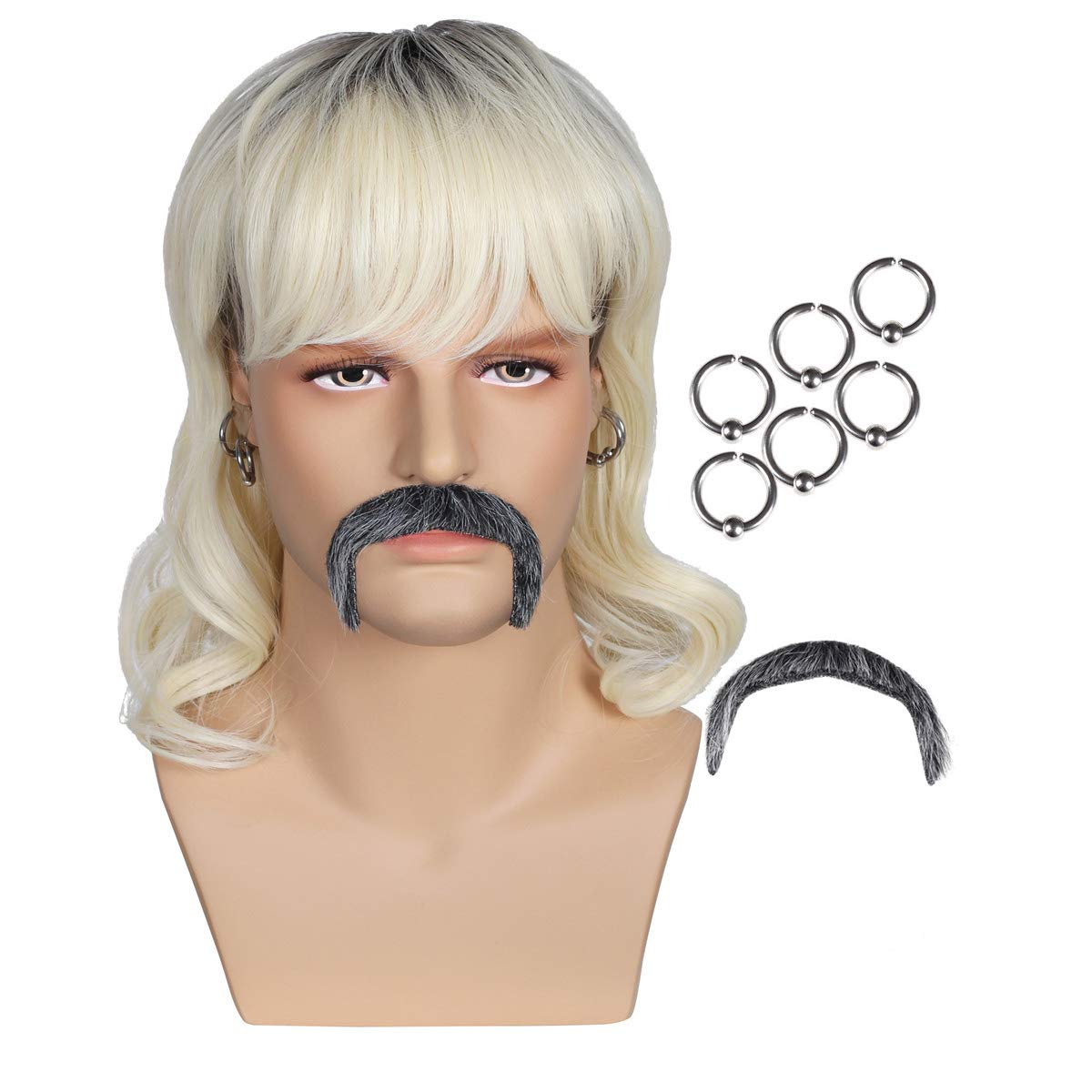 Dark Root Wig with 6 Earrings and Mustache for Men