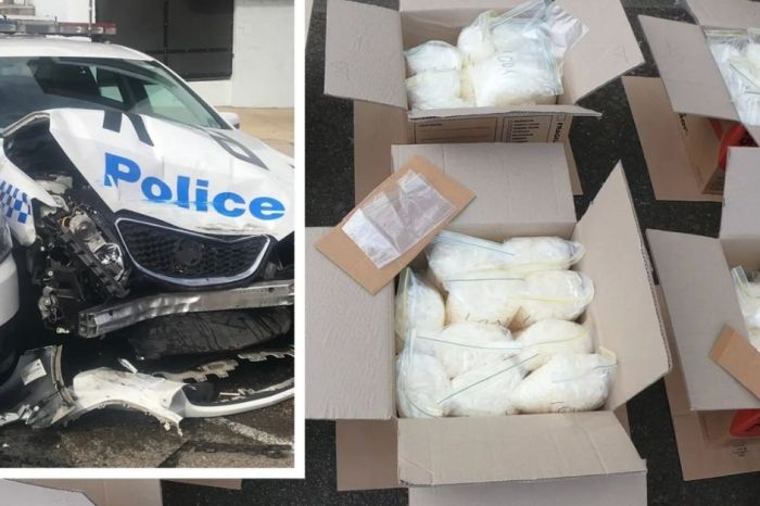 Dumb Man Arrested After Crashing Into Police Cars With 600 Pounds of Meth