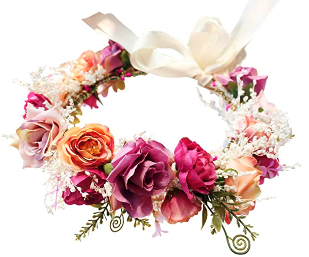 Vivivalue Flower Wreath Headband Floral Hair Garland Flower Crown Halo Headpiece Boho with Ribbon Wedding Party Photos