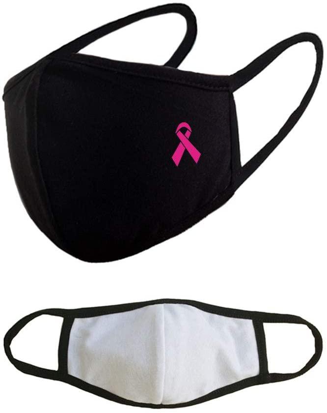Breast Cancer Ribbon Reusable Washable Cotton Face Masks - Black Adults