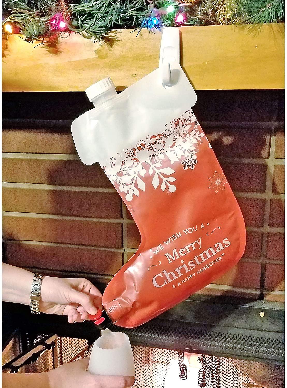 Fairly Odd Novelties Happy Hangover Wine and Spirit Hanging Plastic Christmas Holiday Stocking Flask, 1, Red/White