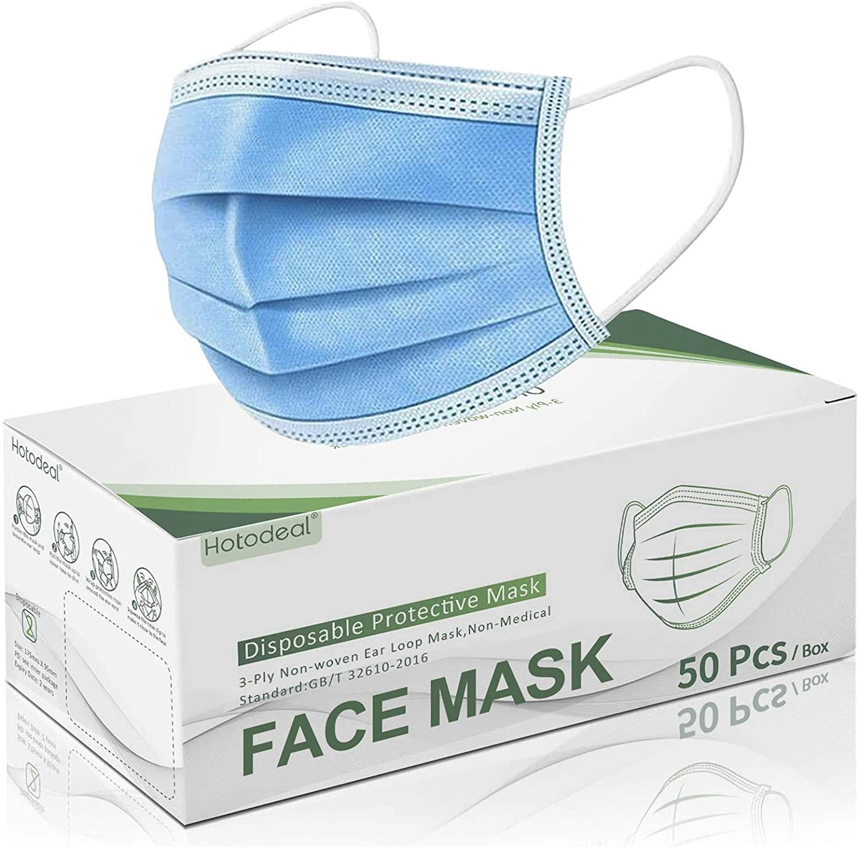 Hotodeal 50 Pcs Disposable Face Masks