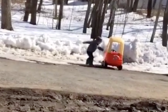 "Little Boy Crashes Toy Car in Snow, Calls it ""Piece of ****"" and Stomps Away"