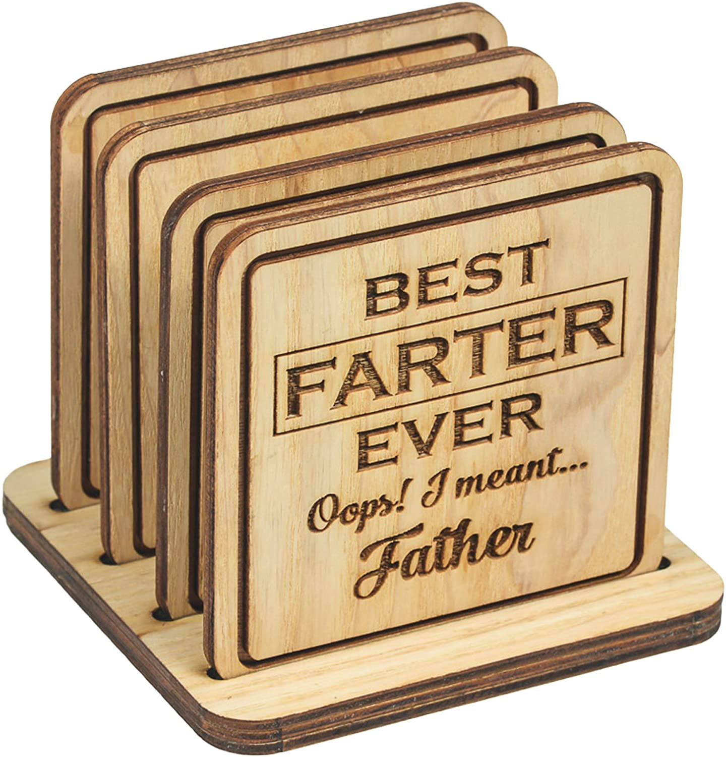 Navady Wood Funny Coasters for Drinks with Holder Set