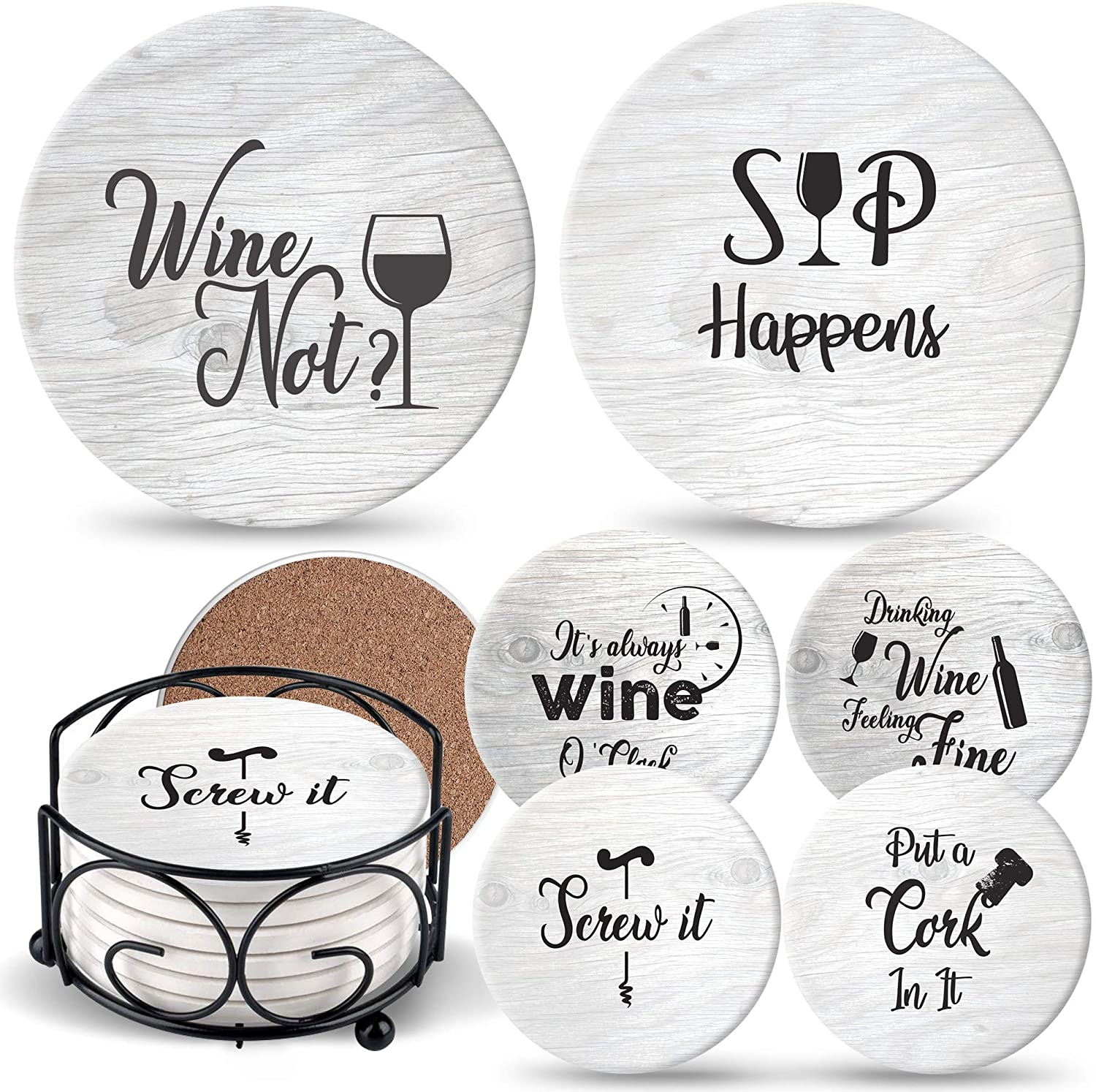 Ultimate Hostess Coasters for Drinks Absorbents with Holder -