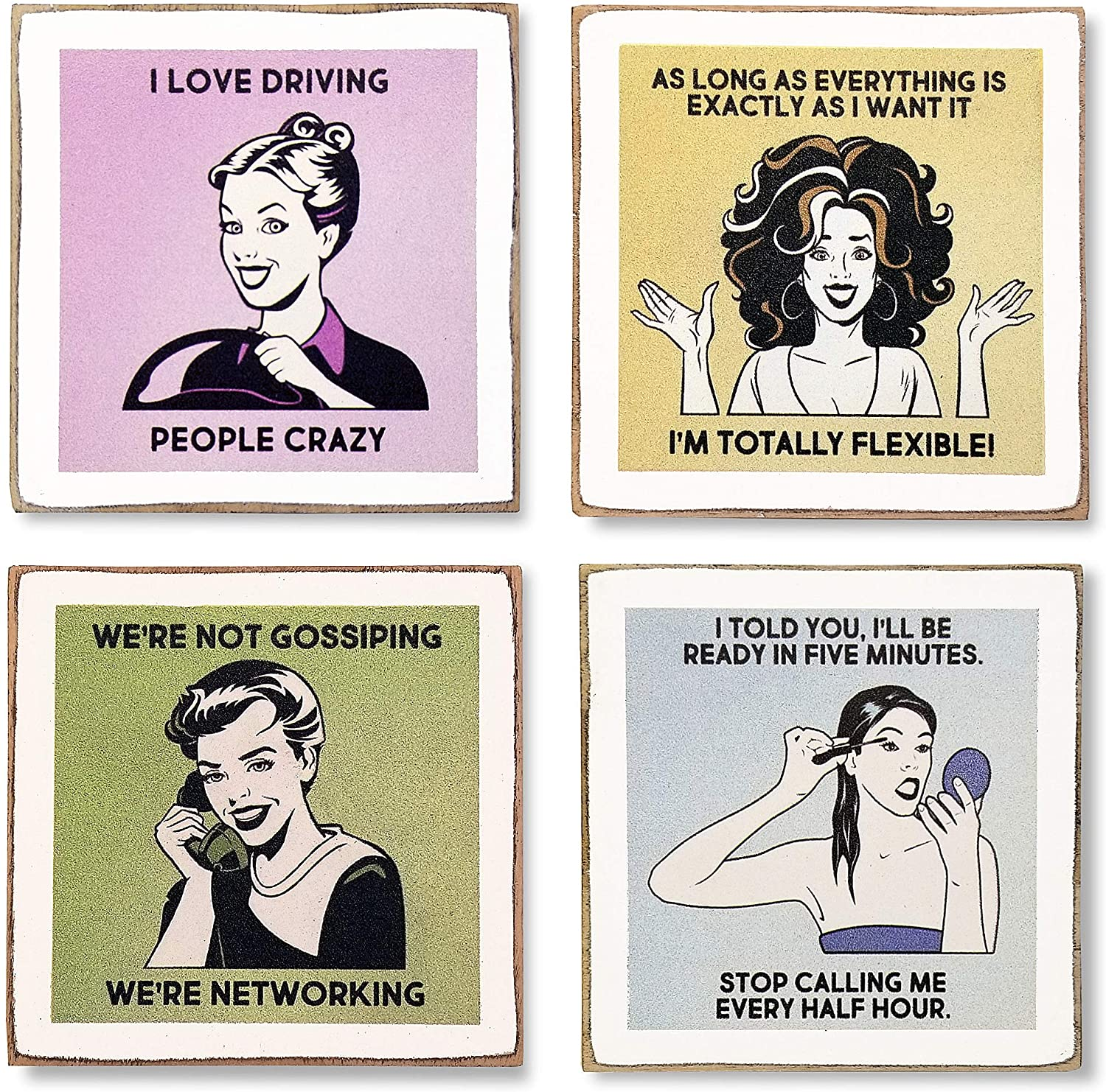 Zumatico Diva Funny Coasters for Drinks - Wine Gifts for Women - Funny Gifts for Women - Table Coasters with Holder - Housewarming Gift for New Home