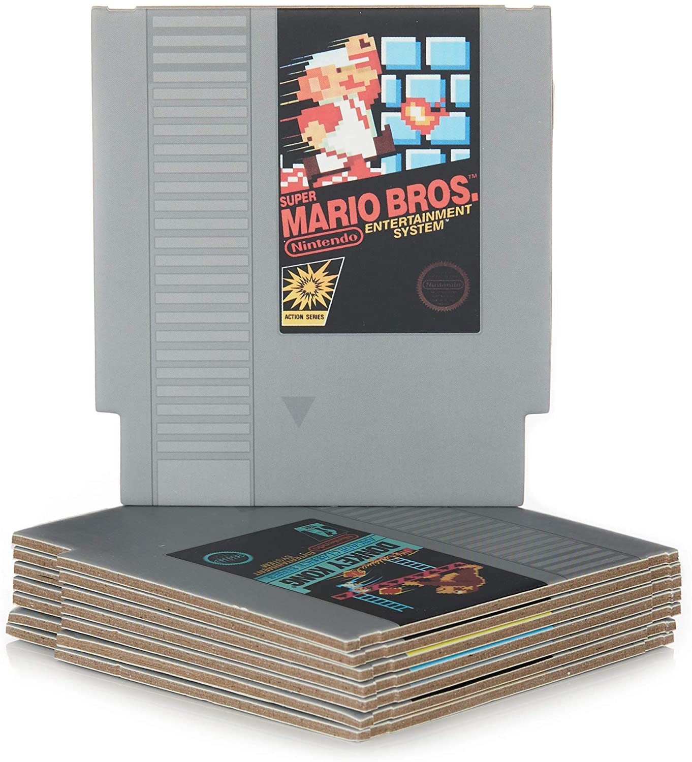 Retro NES Cartridge Coasters for Drinks | Classic Nintendo Video Game Room Decor