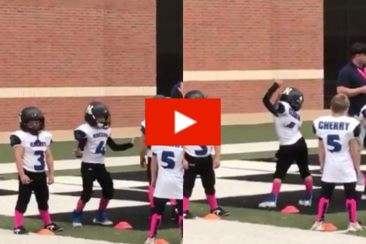 Kid Hilariously Shows Off Dance Moves While Warming Up for Football Game