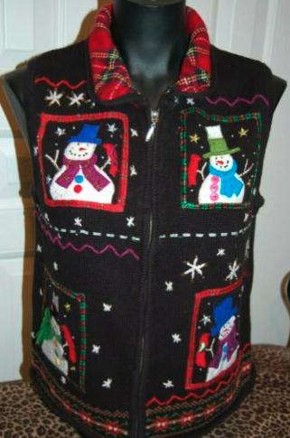 Women's UGLY Christmas Sweater Vest Snowmen Size Medium Vintage