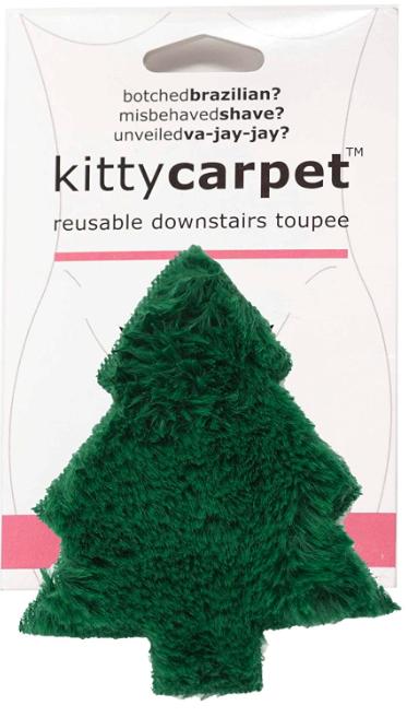 Kitty Carpet Reusable Downstairs Toupee Merkin Wig, Funny Gag Gift for Women (Christmas Tree Green)