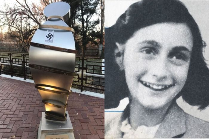 America's Only Anne Frank Memorial Vandalized With Nazi Swastika Stickers