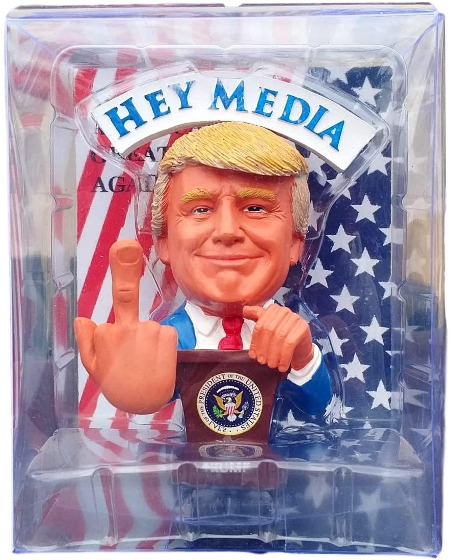 Donald Trump Doll - This Bobblehead Trump Has A Bobbling Middle Finger Instead of Head - F.U Media/Liberals
