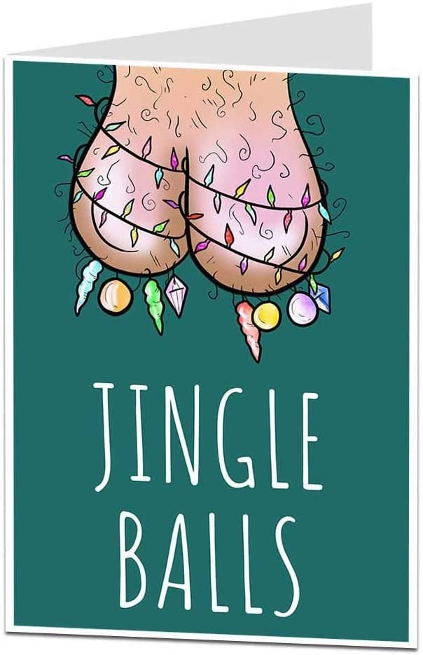 Funny Rude Christmas Card For Him Men Jingle Balls Perfect For Husband & Boyfriend Blank Inside To Add Your Own Xmas Message