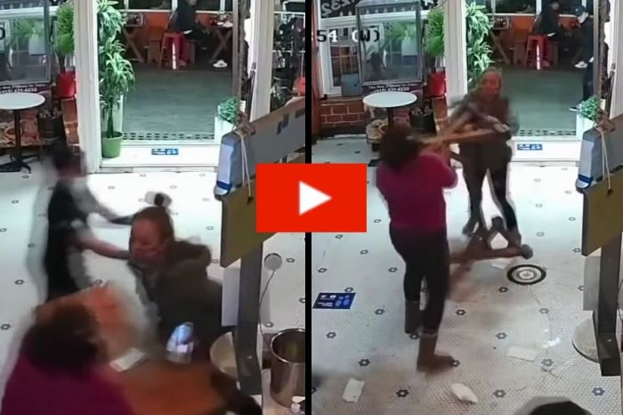 Grandma Fights Angry Customer Causing A Commotion In Her Restaurant