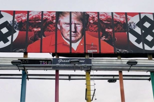 Billboard in Phoenix Shows President Trump in Prison Jumpsuit Behind Bars