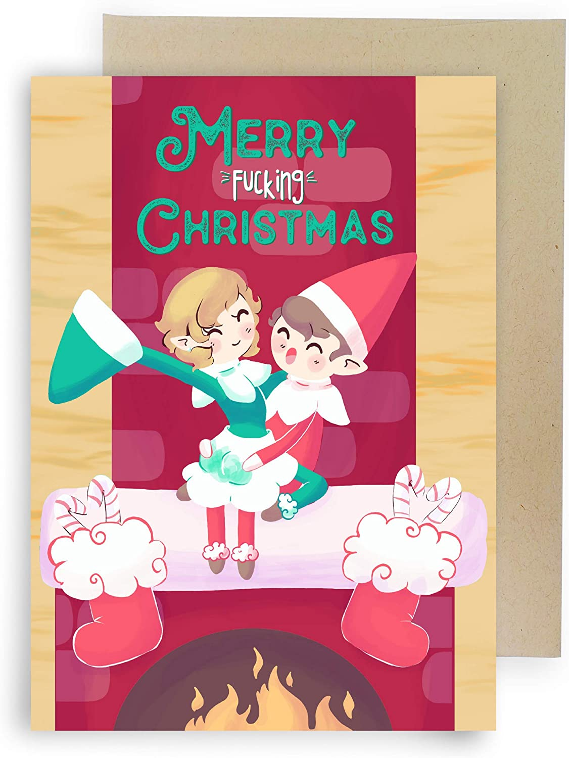 Sleazy Greetings Elves Doing The Naughty Funny Christmas Card For Men Husband   Adult Dirty Christmas Card For Him Boyfriend With Matching Envelope