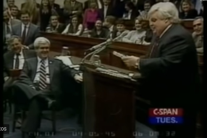 Watch Chris Farley Nail His Impression of Newt Gingrich on 'SNL'