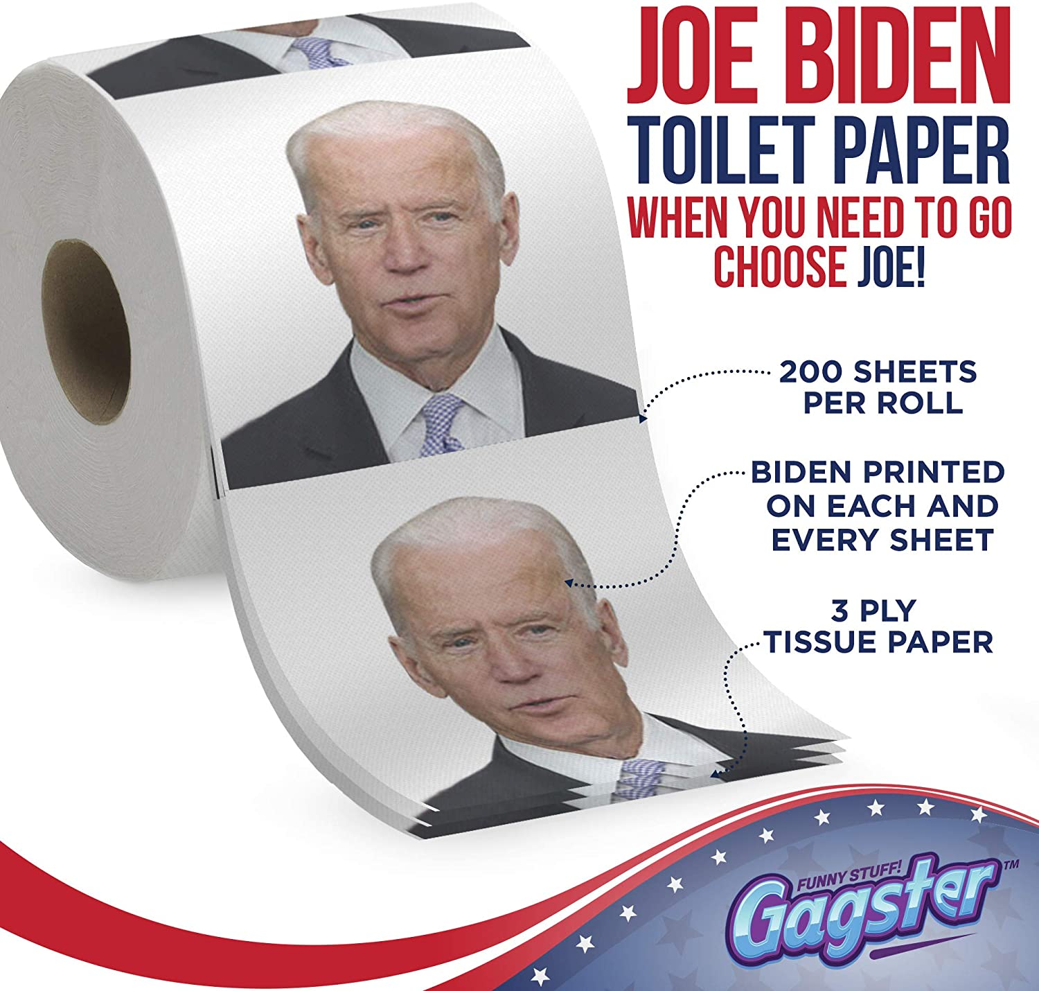 Joe Biden Toilet Paper Roll - Funny Political Novelty Gag Gift - 3 Ply Bathroom Tissue 200 Sheets in Each Roll - Laugh Out Loud Joke with Image Printed on Every Sheet | Hilarious White Elephant Idea