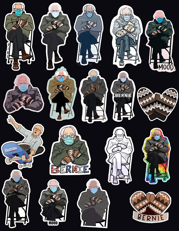 Bernie Sanders Mittens Funny Meme Sticker - Combo 18Pcs (18 Pcs 2x2in)