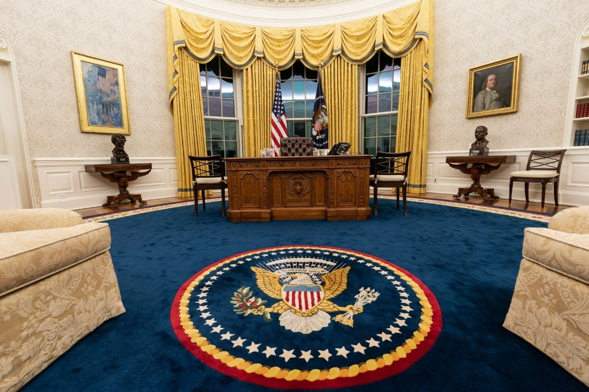 President Joe Biden Removes Military Flags from Oval Office