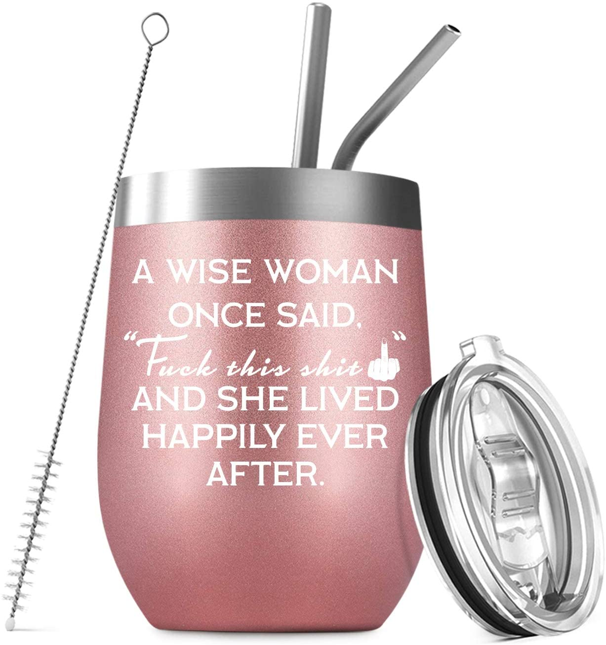 Deitybless A Wise Woman Once Said, Funny Birthday Christmas Gifts for Women, Best Friend, Sister, Coworker, Wife, Mom, Daughter, Aunt, Her 12 oz Stemless Wine Tumbler with Funny Saying