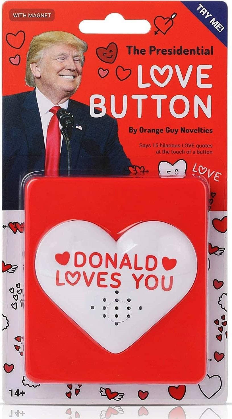 Donald Trump Talking Love Button - Says 15 Different Funny Love Quotes in His Voice - Hilarious Romantic Gag Gifts for Men or Women - Novelty Merchandise - Batteries Are Included Inside