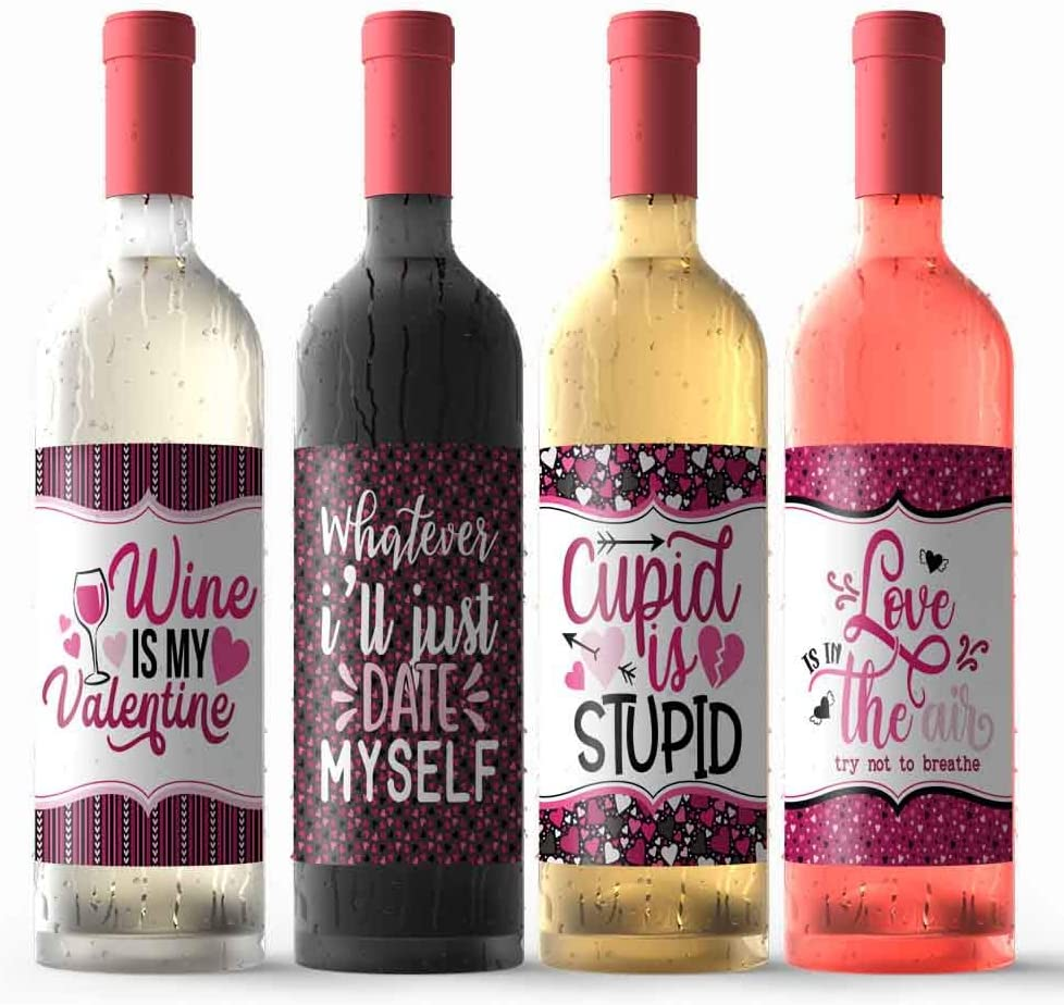 "Funny Anti-Valentine's Day Themed Waterproof Wine Bottle Sticker Wrappers, 4 3.75"" x 4.75"" Wrap Around Labels by AmandaCreation (WINE NOT INCLUDED)"