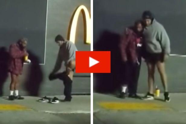 Good Samaritan Generously Gives His Own Pants to Cold Homeless Man