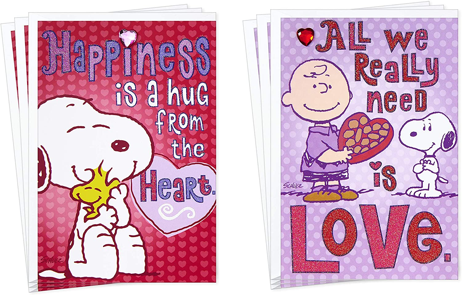 Hallmark Peanuts Valentines Day Cards Assortment for Kids, 6 Valentine's Day Cards with Envelopes (Hug from The Heart)
