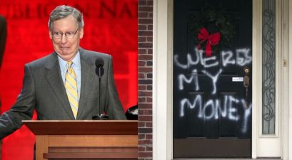 Senator Maj. Leader Mitch McConnell's Home Vandalized Per Stimulus Check Bill