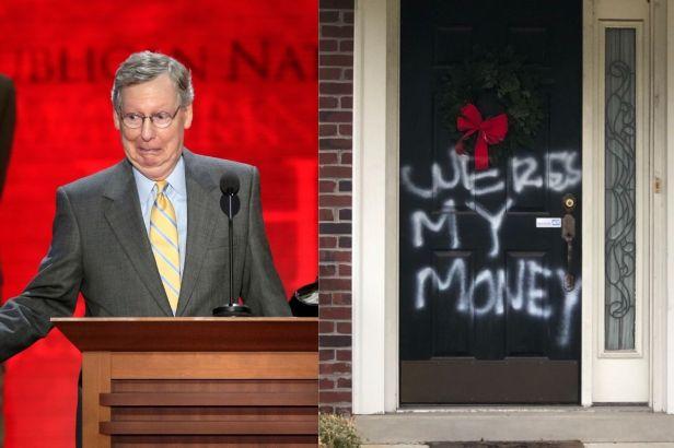 Senator Maj. Leader Mitch McConnell's Home Vandalized Per Stimulus Check Bill