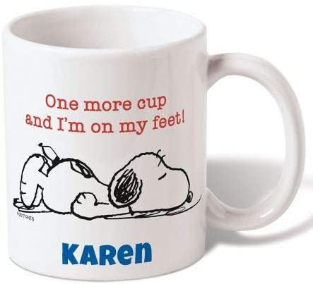 PEANUTS Snoopy Personalized Ceramic Mug - 11 Ounce Coffee Cup