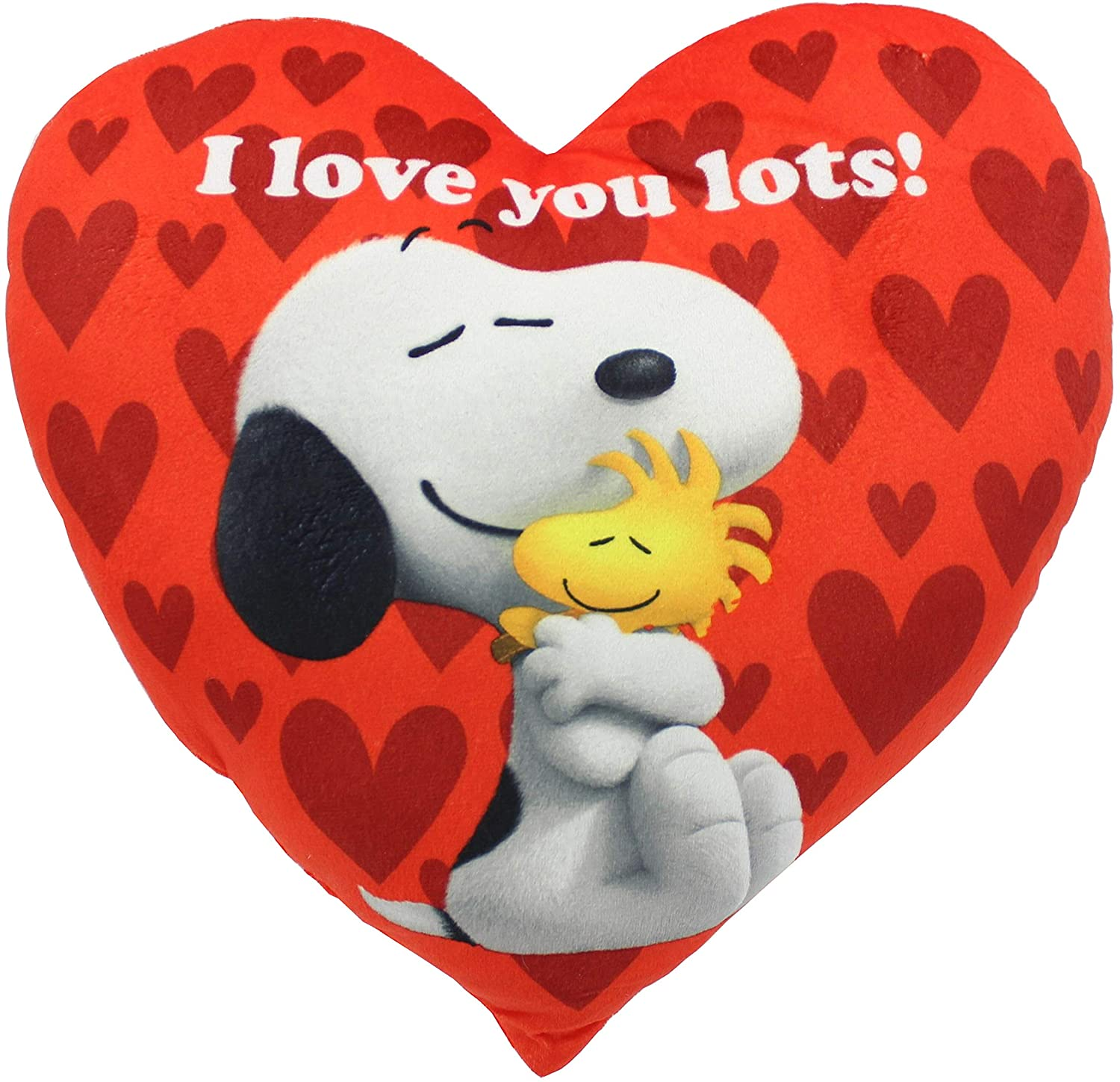 """Peanuts Valentine's Snoopy And Woodstock 14"""" I Love You Lots Red Heart Pillow"""