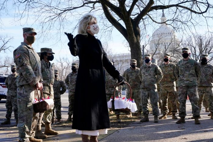 Dr. Jill Biden Visits National Guard Troops Stationed Outside the US Capitol; Gives Them Cookies