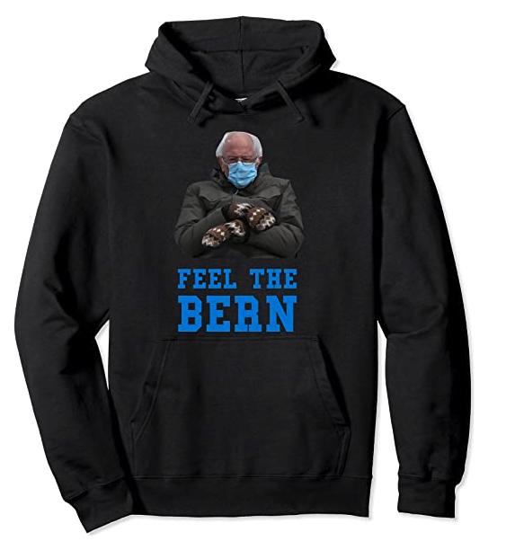 Feel It Bern Bernie Sanders Sitting Mittens Funny Meme Pullover Hoodie