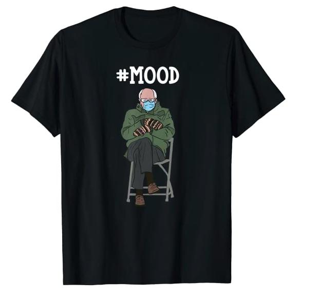 Funny Meme Mittens Bernie Sanders Mittens #Mood Black Shirt T-Shirt