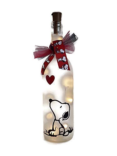 Snoopy Wine Bottle with Lights Gift Valentine's Day Birthday