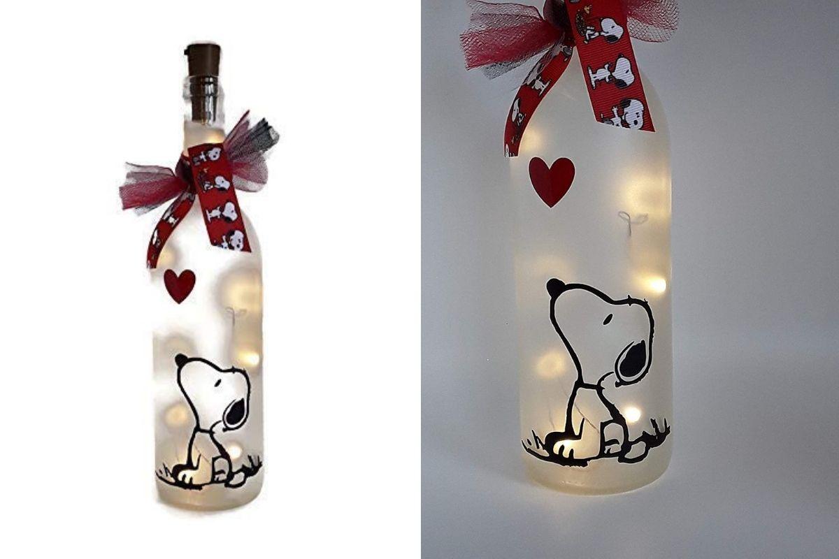 snoopy wine bottle