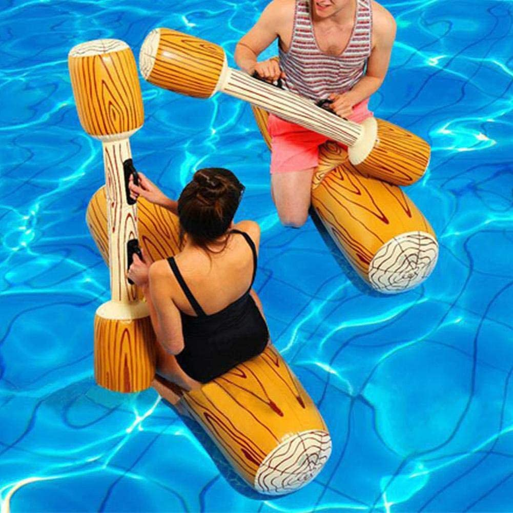 2 Pcs Set Inflatable Floating Row Battle Logs Water Toys,Interesting Floating Bed Pool Lounger Giant Floats Ride Boat Raft,Adult Children Pool Party Water Sports Games Log Rafts to Float Toys
