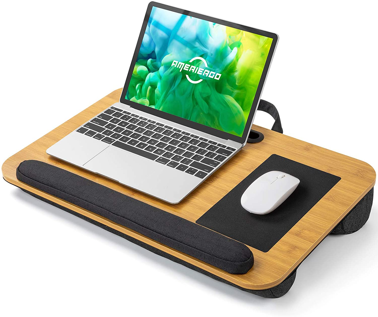 AMERIERGO Lap Desk - Laptop Lap Desk with Dual Cushion, Wrist Rest & Built-in Mouse Pad, Portable Laptop Stand for Sofa & Bed, Multifunctional Slot for Tablet, Pen & Phone (Natural Wood)