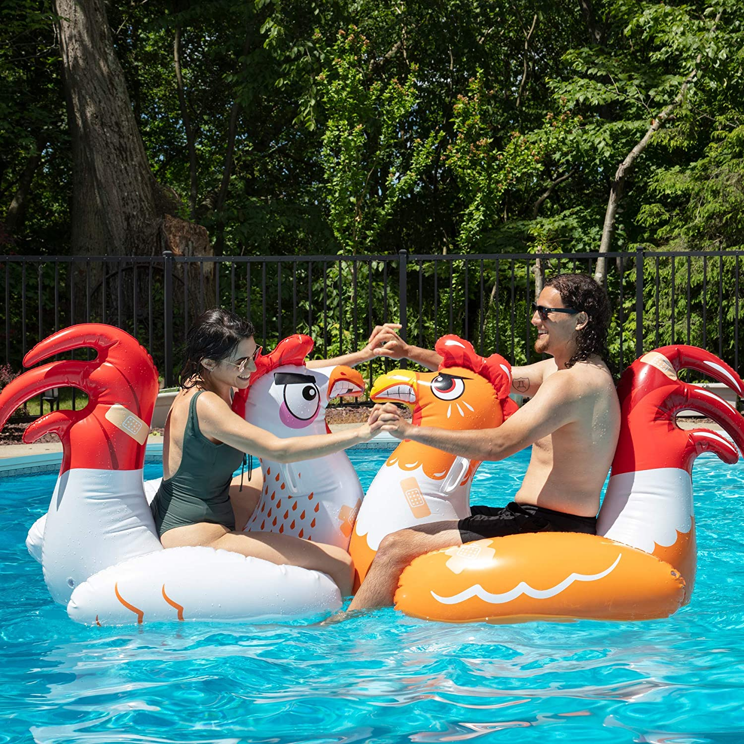 Chicken Fight Inflatable Pool Float Game Set - Includes 2 Giant Battle Ride-Ons - Flip Your Friends to Win! - for Kids and Adults
