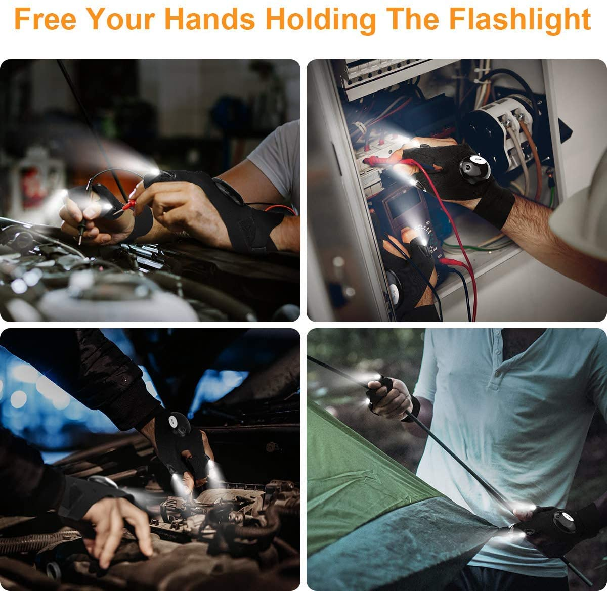 LED Flashlight Gloves, Gifts for Men Dad Husband Boyfriend, Hands Free Light Gadgets Tools for Night Fishing, Running, Camping, Car Repairing, Father's Day Gifts for Dad