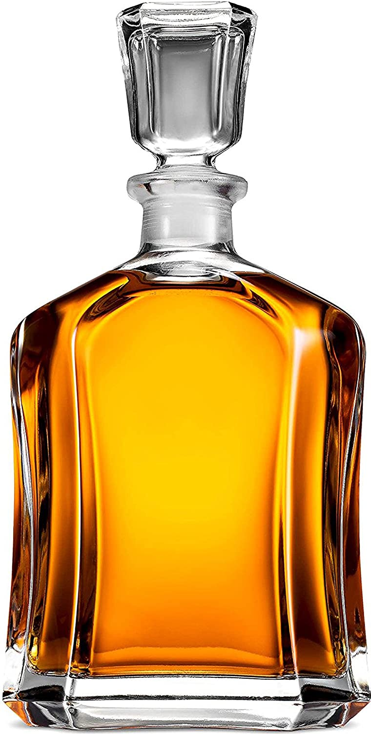 Paksh Capitol Glass Decanter with Airtight Geometric Stopper - Whiskey Decanter for Wine, Bourbon, Brandy, Liquor, Juice, Water, Mouthwash. Italian Glass | 23.75 oz