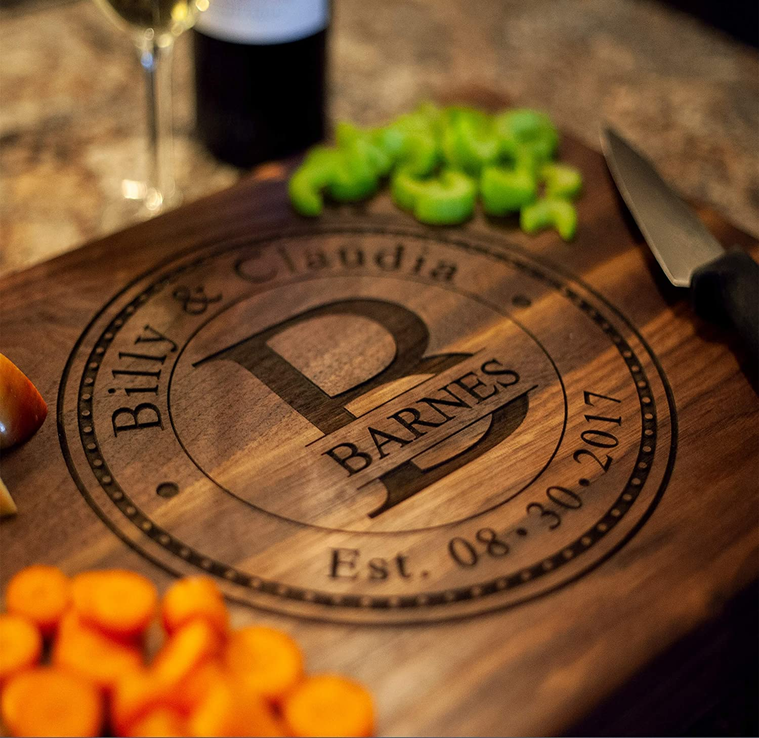 Personalized Cutting Board, USA Handmade Cutting Board - Personalized Gifts - Wedding Gifts for the Couple, Engagement Gifts, Gift for Parents