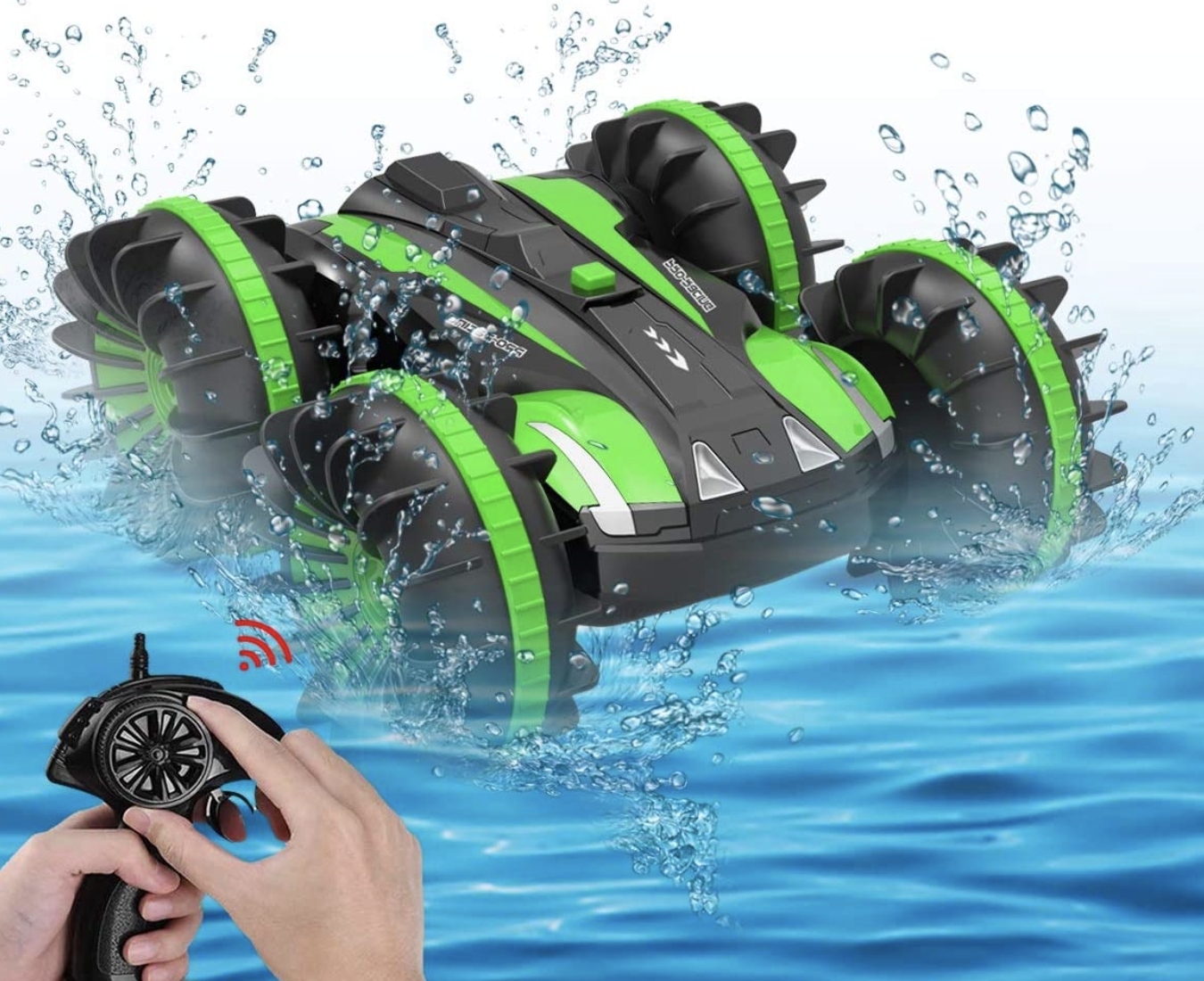 Seckton Toys for 5-10 Year Old Boys Amphibious RC Car for Kids 2.4 GHz Remote Control Boat Waterproof RC Monster Truck Stunt Car 4WD Remote Control Vehicle Girls Gifts All Terrain Water Beach Pool Toy