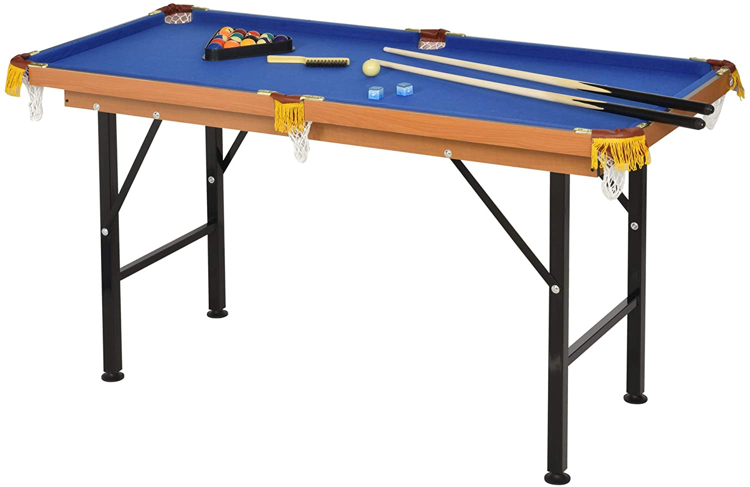 Soozier 55'' Portable Folding Billiards Table Game Pool Table for Kids Adults with Cues, Ball, Rack, Brush, Chalk