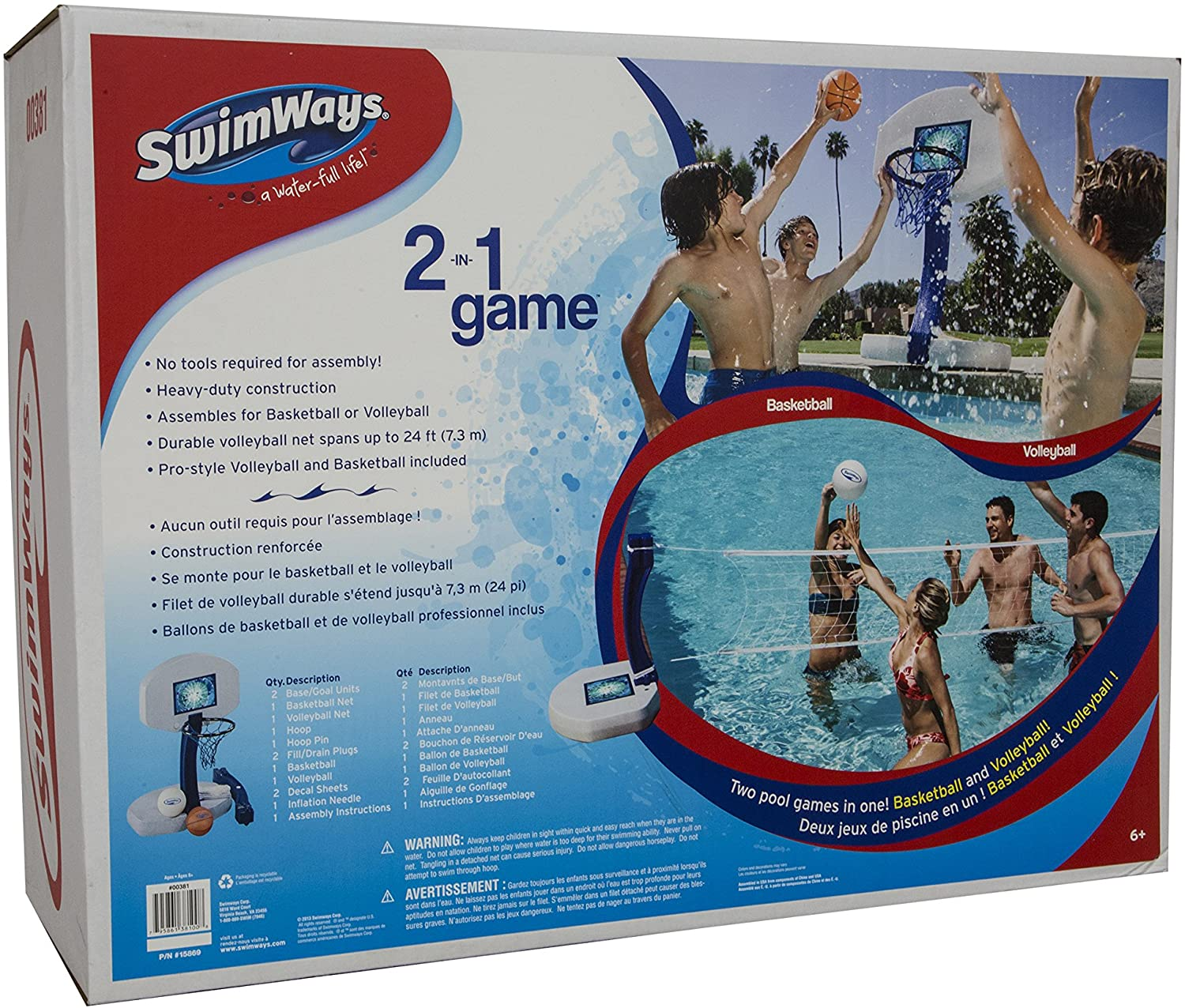 SwimWays 2 In 1 Pool Sport Combo Set - Outdoor Volleyball & Basketball Net For Swimming Pool - os